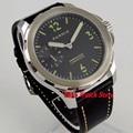 44 мм Parnis механические мужские часы с сапфировым стеклом  черный циферблат  светящийся 17 драгоценностей  6497  ручная обмотка  985