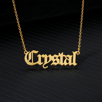 Name Necklace Custom Old English Necklace For Women Gold Chain Stainless Steel Letter Pendant Gargantilha Bijoux Femme Jewelry 2019 statement multilayer letter pendant necklace charm gold necklace bread beads chain necklace jewelry for women