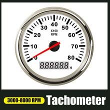 85mm tacômetro 3 8k rpm tacho medidor com lcd ampulheta para o barco do carro 12v/24v luminoso vermelho marinho calibre