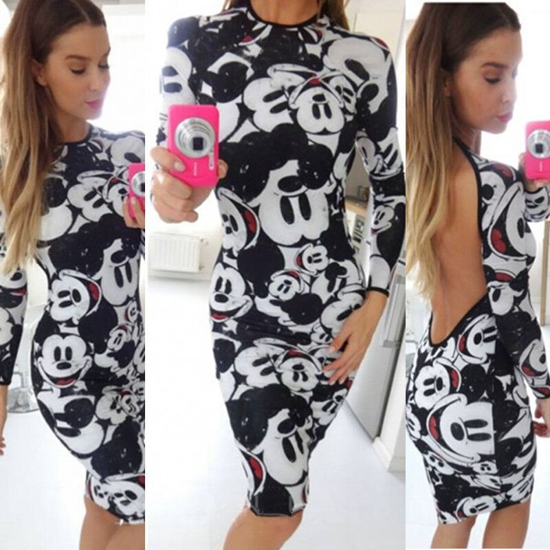 minnie mickey women cartoon pencil short cute dress miki sexy vestidos cute clothes female party dress girl birthday gift(China)