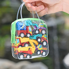 Children For Kids Gift Car 6pcs Set Simulate Educational Trailer Toy Inertia Truck Kids Race Car Plaything Pull Back Cars 6pcs set boy girl cute mini pull back car toys cartoon inertia pullback toy set truck vehicle for kids toddlers