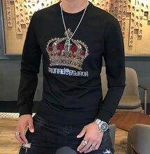 Herbst und Winter 2019 Neue Europäische Römischen Baumwolle männer Crown Diamant Rundhals Körper gebäude Flut Mode hoodies