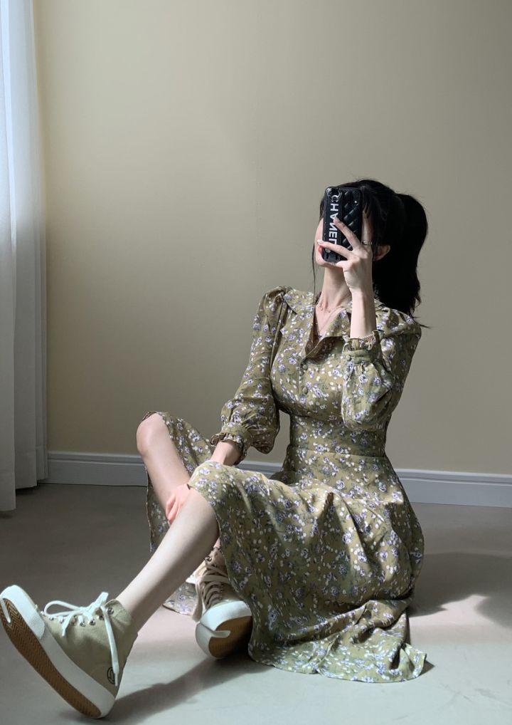 H0c11d9426c164e9cb0fb10a0cd583337D - Autumn Revers Collar Long Sleeves Floral Print Midi Dress