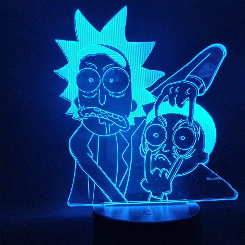 Rick And Morty Cartoon 3d LED Night Light Children Night Lamp With 7/16 Colors Change LED Table Lamp For Bedroom Xmas Gift