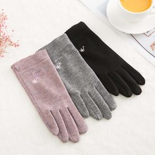 1PC Women Autumn Winter Touch Screen Suede Glove Warm Thick Cashmere Full Finger Mittens Female Wool Fleece Inside Gloves