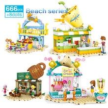 Mare spiaggia Street View Cottage Building Blocks Barbecue gelato caffè succo cabina ragazze modello creativo Set di giocattoli assemblati