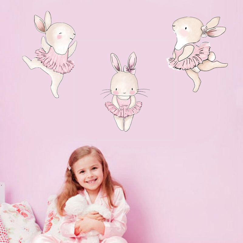 Cartoon Pink Rabbit Ballet Wall Stickers For Kids Room Bunny Home Decor Wall Decals Baby Nursery Girls Room Decoration Poster