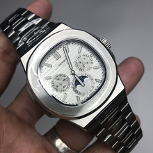 Mens silver watch PP automatic self winding glide smooth second hand AAA quality all small sub dials works 315L stainless steel second hand for symbol ls9208 scanner all function 100