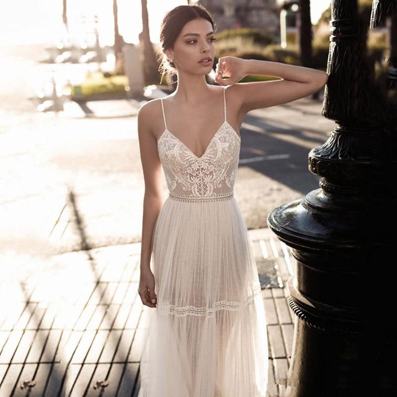 Eightree Bridal Gowns Lace Applique Berta Bohemian Wedding Dresses Beach Spaghetti Straps Illusion Backless Wedding Dress V Neck
