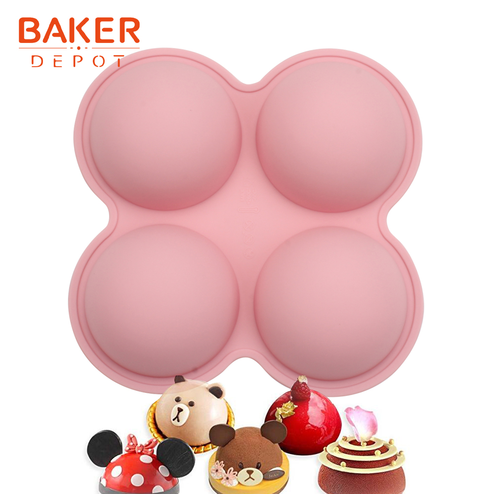 <font><b>BAKER</b></font> <font><b>DEPOT</b></font> dome Silicone mold for cake pastry big round cake decoration tool bread pudding form DIY handmade soap resin image
