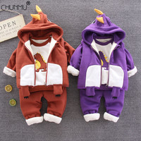 Boy Girl Clothing Set New Autumn Winter Sport Outfit Warm Kid Suit Children Baby Clothing Hoodies + Tops+ Pant 3PCS