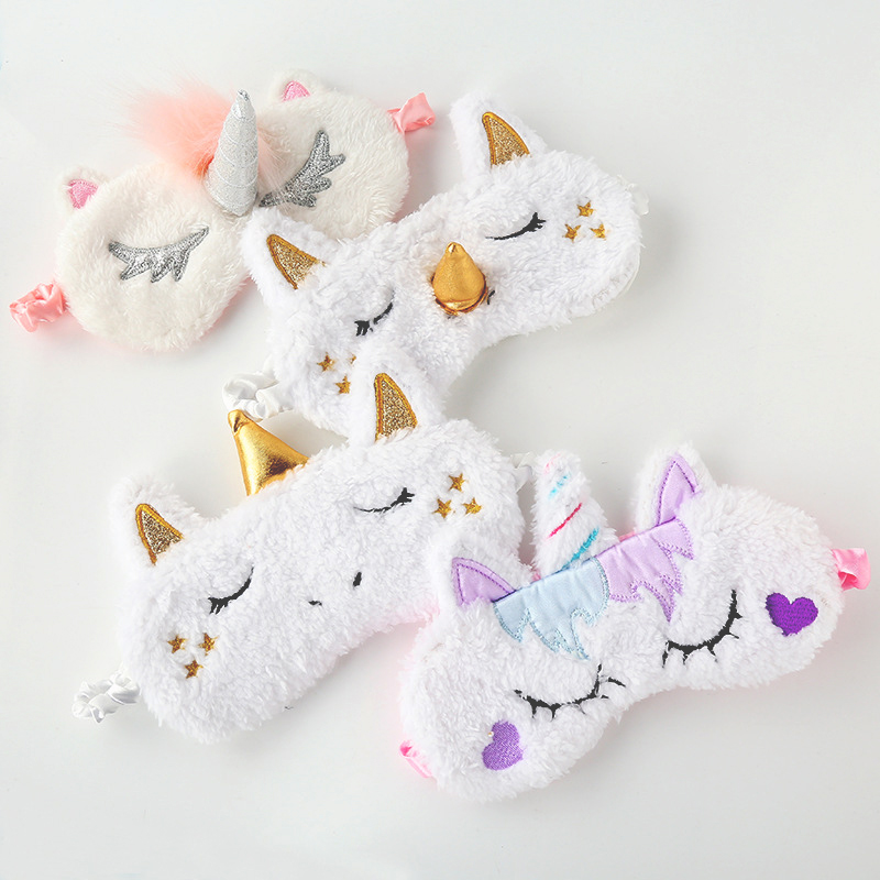 Plush Unicorn Sleeping Mask Cute Kids Eye Cover Cartoon 3D Sleep Eye Mask Travel Eye Band Shade Rest Eyepatch Eye Blindfolds