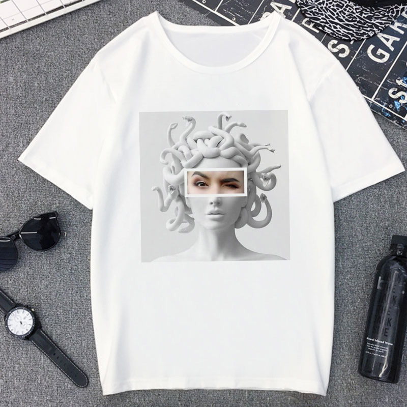 Snake Head Monster Medusa Smokes Funny <font><b>Tshirt</b></font> Women Harajuku <font><b>Aesthetic</b></font> Vintage T Shirt Casual White Tops T-shirt Female <font><b>Graphic</b></font> image