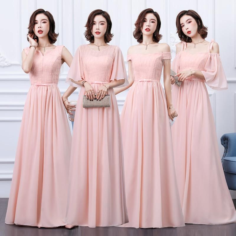 EIF Wedding Bridal Dresses Pink Long Chiffon Junior Vestido Elegant Wedding Party Prom Dresses Women For Wedding Party Sexy Prom