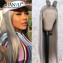 Grey Full Lace Wig Human Hair Brazilian Remy Blonde Pink Blue Red Colorde Wigs for Black Women 150% Density Pre Plucked(China)