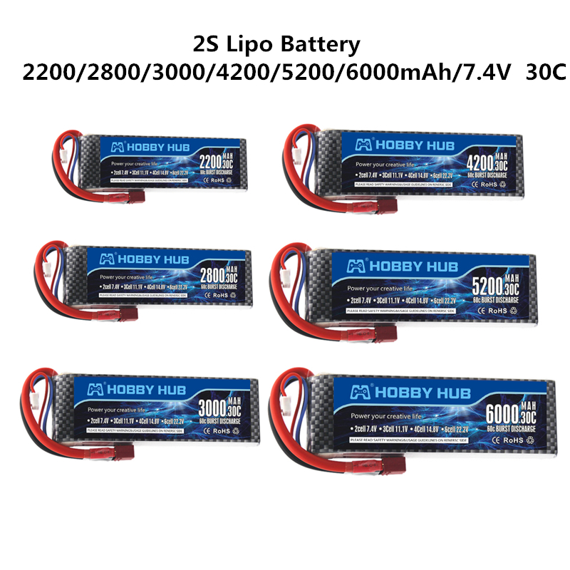 <font><b>2s</b></font> 2200mah <font><b>2800mah</b></font> 3000mah 4200mah 5200mah 6000mah 7.4v <font><b>lipo</b></font> battery For RC toy Car Airplane Helicopter 7.4V Battery with T Plug image