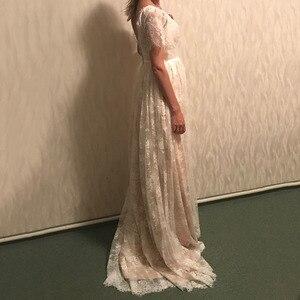 Image 4 - Vestido דה casamento שמפניה פורמאלית כלה שמלת 2019 V צוואר תחרה חתונה רומנטית שמלות Vestido דה noiva שמלת כלה