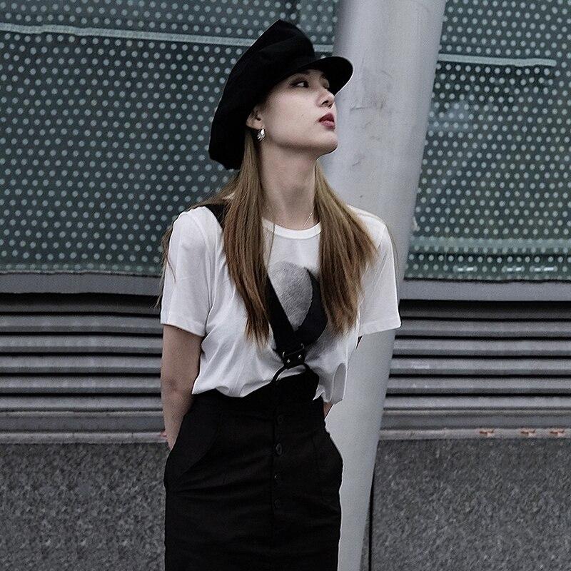 [EAM] Women White Pattern Printed Temperament T-shirt New Round Neck Short Sleeve  Fashion Tide  Spring Summer 2020 1W031 5