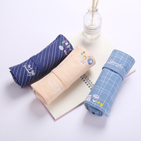 Large Capacity Roll Up Canvas Pencil Bag Pen Case Brushes Wrap Pouch Pen Pocket and Multi-functional Makeup Pencil Bag School