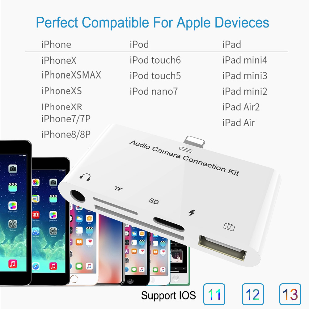 2-in-1 Lightning to USB Cable TF SD Card Reader for Apple iOS iPhone iPad iPod