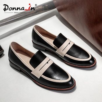 Donna-in Women Loafers Shoes Genuine Leather Flats Women Moccasins 2020 Autumn Comfortable Slip on Casual Female Shoes Low Heels