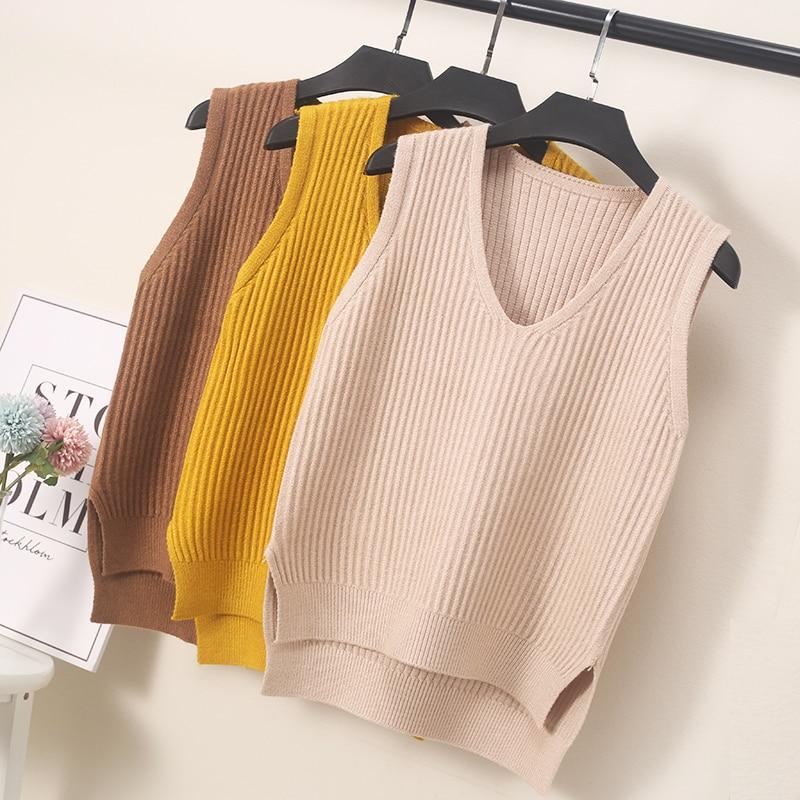 Autumn Women Sweater Waistcoat 2019 Korean Womens Elegant Student V-neck Pullover Knitting Tops Outerwear Vest Pink Black Blue