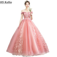 Quinceanera Dress Pink Off Shoulder Ball Gown Girls Formal Party Dress Quinceanera Vestidos Lace Appliqued