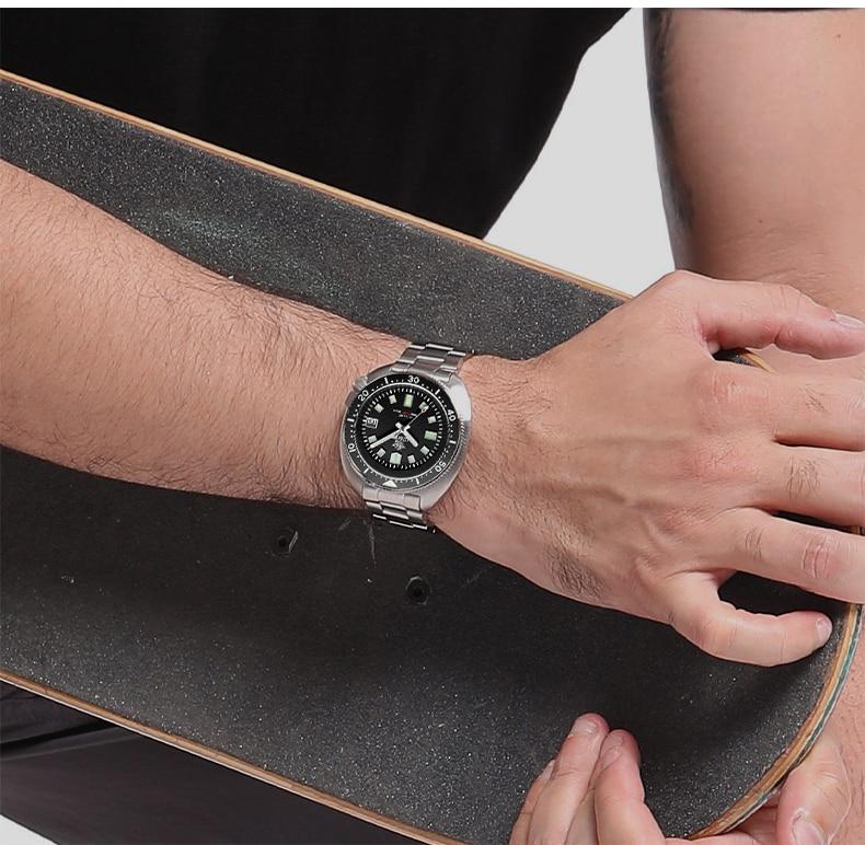 H0c12f9d5b80045fea7f6be9d50c666a2Q 1970 Abalone 200m Diver Watch Sapphire crystal calendar NH35 Automatic Mechanical Steel diving Men's watch