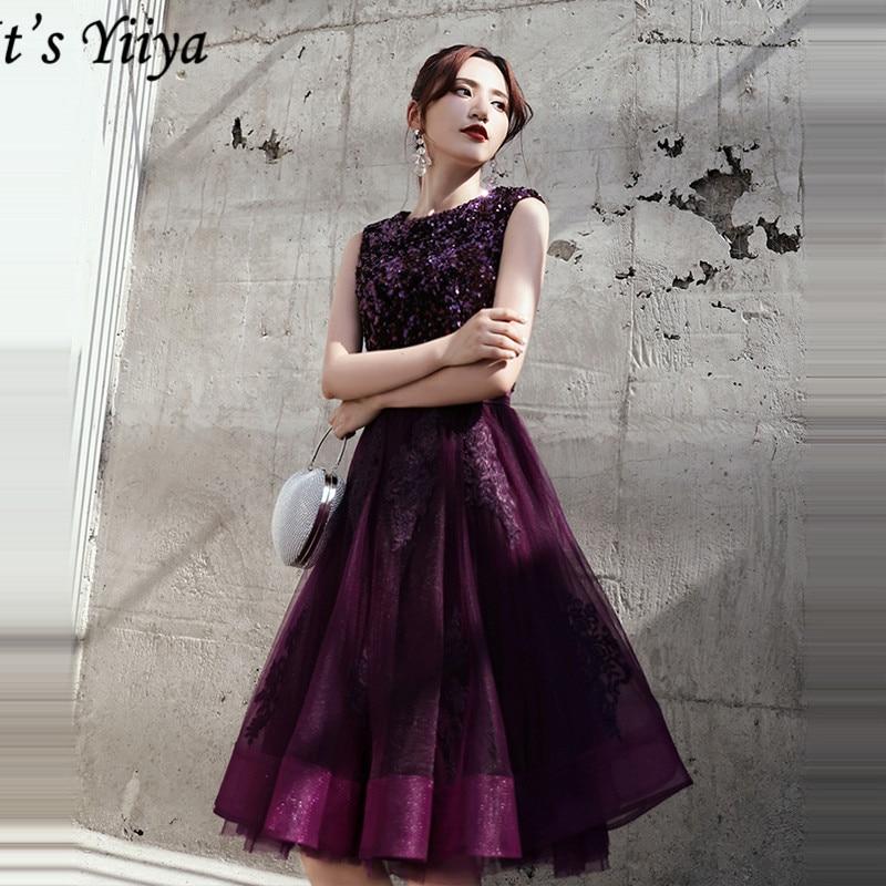 It's Yiiya Prom Dress Sleeveless Embroidery O-Neck Knee-Length Vestidos De Gala LF146 A-Line Tulle Zipper Prom Dresses 2020