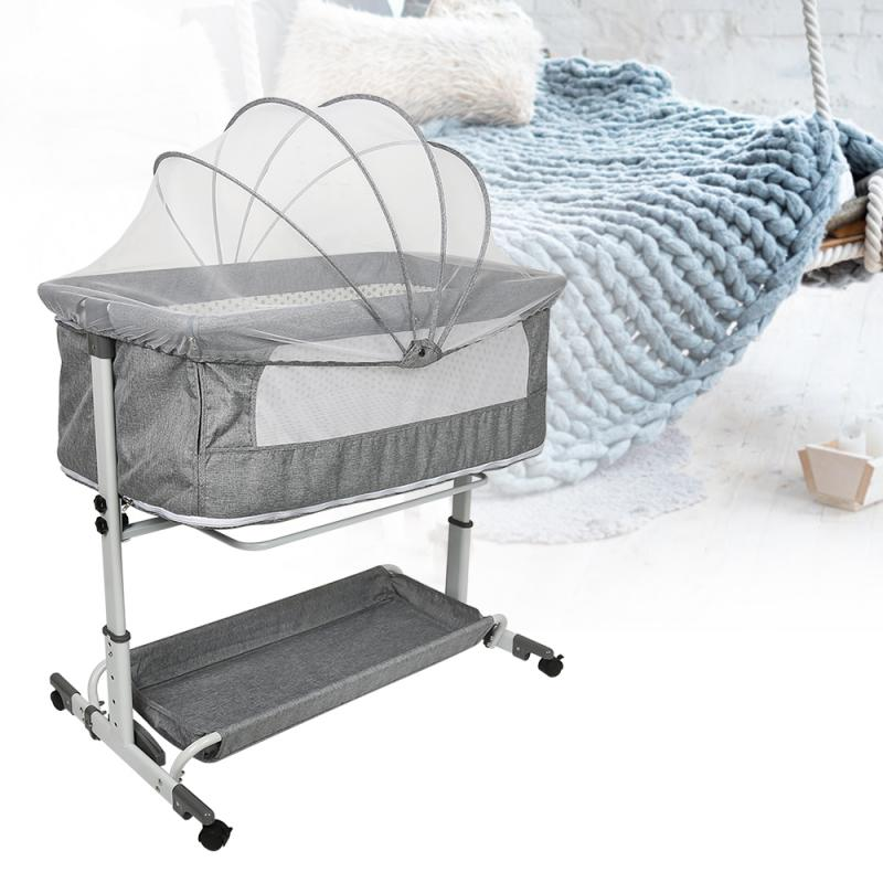 Baby Crib Newborn Crib Cradle Bed Movable Portable Foldable Multifunctional Baby Stitching Big Bed Mosquito Net With Wheels HWC