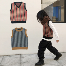 Kids Knitted Vest Boys Sweater New Autumn Winter Toddler Girls Wool Cotton V Collar Baby