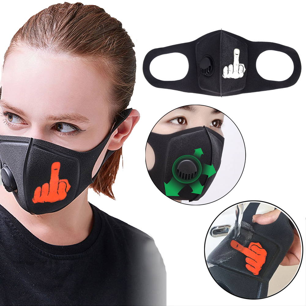 Pollution Mask Middle Finger Anti Air Dust And Smoke Pollution Mask With Adjustable Straps And A Washable Respirator Mask Made