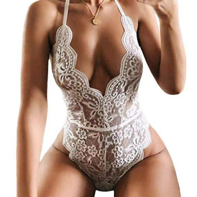 Women Sexy Bras Jumpsuit Underwear Sexy Lace Deep V Neck Women Bodysuit Summer Women Playsuits Solid White/Black/Red Color