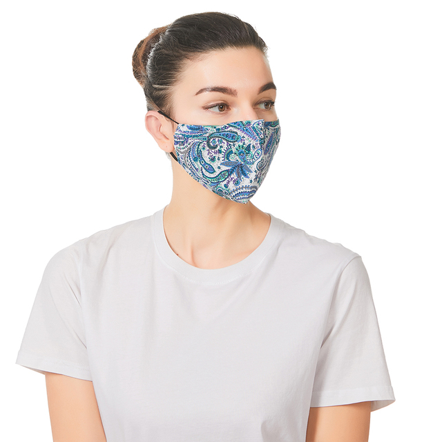 5Set Breathable Face Mas With Filters Cotton Floral Prints Reusable Washable Masks Face Unisex Dust-proof Mouth Cover Mask 1