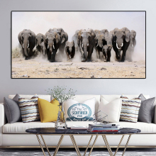 A Herd of African Elephants Running Dust Wild Animals Canvas Painting Posters and Prints Wall Art Pictures For Living Room