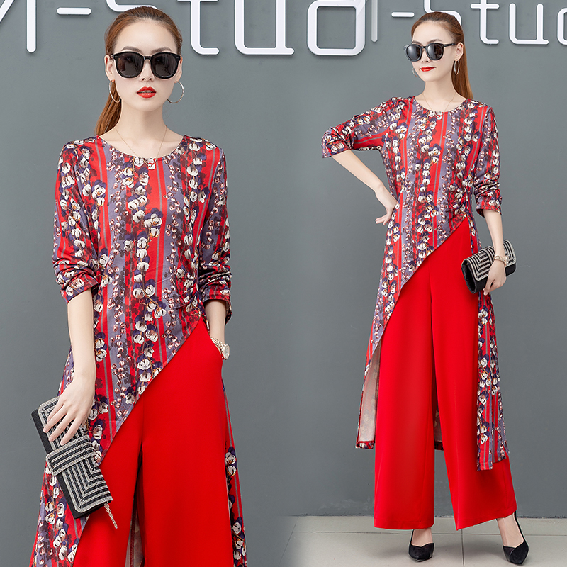 Printed Two Piece Sets Outfits Women Plus Size Splicing Long Tops And Wide Leg Pants Suits Elegant Office Fashion Korean Sets 40