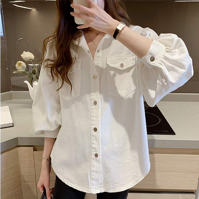 Blouses Shirts Women Spring Pockets Long Sleeve Fashion Solid Korean Style Loose Students Chic Womens Vintage Street Elegant New 2