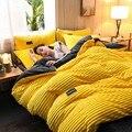 4 pçs cor lisa engrossar flanela quente conjunto de cama veludo capa edredon folha fronhas casa roupa