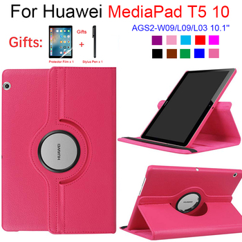 Для Huawei MediaPad T5 10 AGS2-W09/L09/L03 10,1 планшет чехол подставка искусственная кожа флип чехол для 360 Вращающийся чехол Huawei T5 10,1
