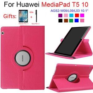 Para huawei mediapad t5 10 AGS2-W09/l09/l03 10.1 tablet funda suporte de couro do plutônio flip capa para 360 caso rotativo huawei t5 10.1