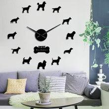 Doberman Pomeranian Rottweiler Poodle Pitbull, Сибирский хаски Джек, рассель, Popuar, Микс, собака, 3D, сделай сам, настенные часы, щенок, домашний деко
