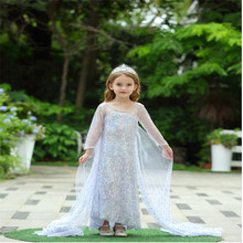 Summer kids Dress Girls Clothes Girl Dresses vestidos princess Children floral Wedding clothing Party Long sleeve Printing Gauze