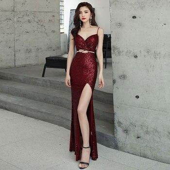 Burgundy stretch sequin sexy slit pleat trumpet vestidos de fiesta de noche prom party evening dresses robe de soiree gown long 5