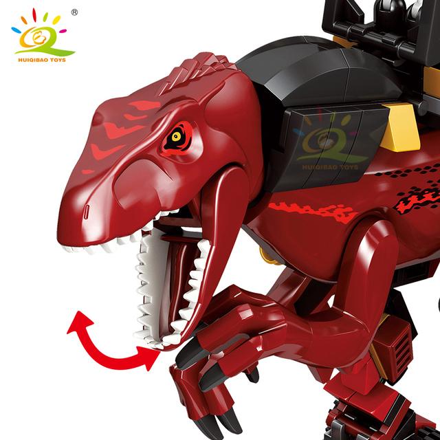 HUIQIBAO 272pcs Jurassic Dinosaur Velociraptor mount Building Blocks City Raptor Figures world Bricks Dragon Knight children Toy