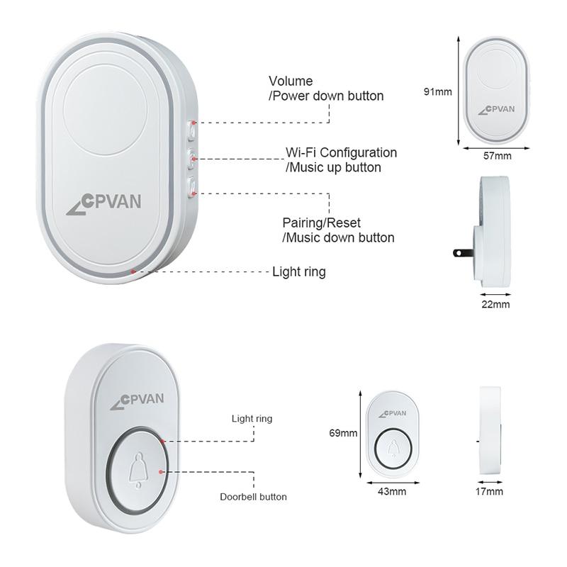 H0c13c5eaa4dd4bacb1113167c0f8bdbdz - CPVAN Wireless Doorbell Alarm System Smart WIFI Doorbell Strobe Siren Tuya App 58 Sound Compatible Home Security Alarm System