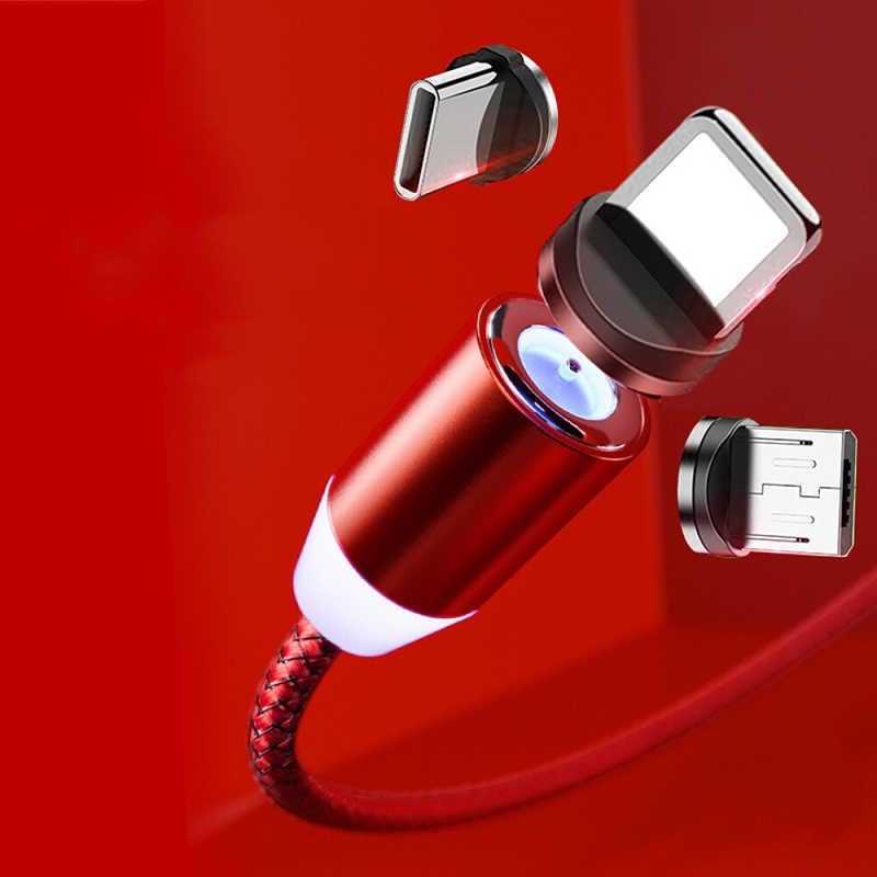 Manyetik kablo iPhone Samsung için hızlı şarj mikro USB kablosu kablosu mıknatıs şarj USB tip C 1m cep telefonu kabloları