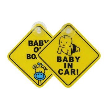 Car Sticker Baby ON BOARD WARNING SAFETY SIGN Sticker Decal with Sucker for Car Vehicle Window Sticker Car Accessories Styling image