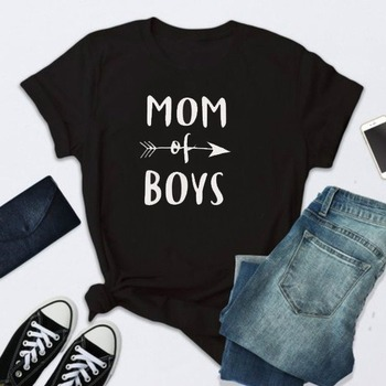 MOM OF BOYS Letter Print T Shirt Women Short Sleeve O Neck Loose Tshirt 2020 Summer Women Tee Shirt Tops Camisetas Mujer i solemnly swear letter print t shirt women short sleeve o neck loose tshirt 2020 summer women tee shirt tops camisetas mujer