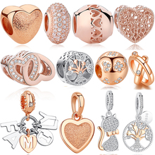 Original 925 Sterling Silver Bead Rose Gold Family Tree Of Love Cat Pendant Charm Fit Pandora Charms Silver 925 Bracelet Jewelry