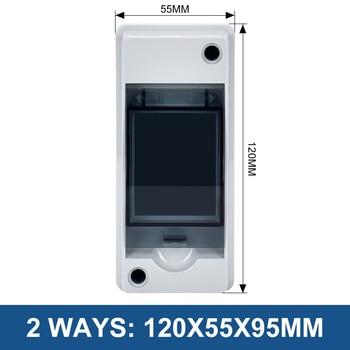 Caja de distribución eléctrica impermeable para exteriores, disyuntor MCB, caja de cables de empalme de plástico, IP65, 2/5/8/12/15/18/24 vías 2